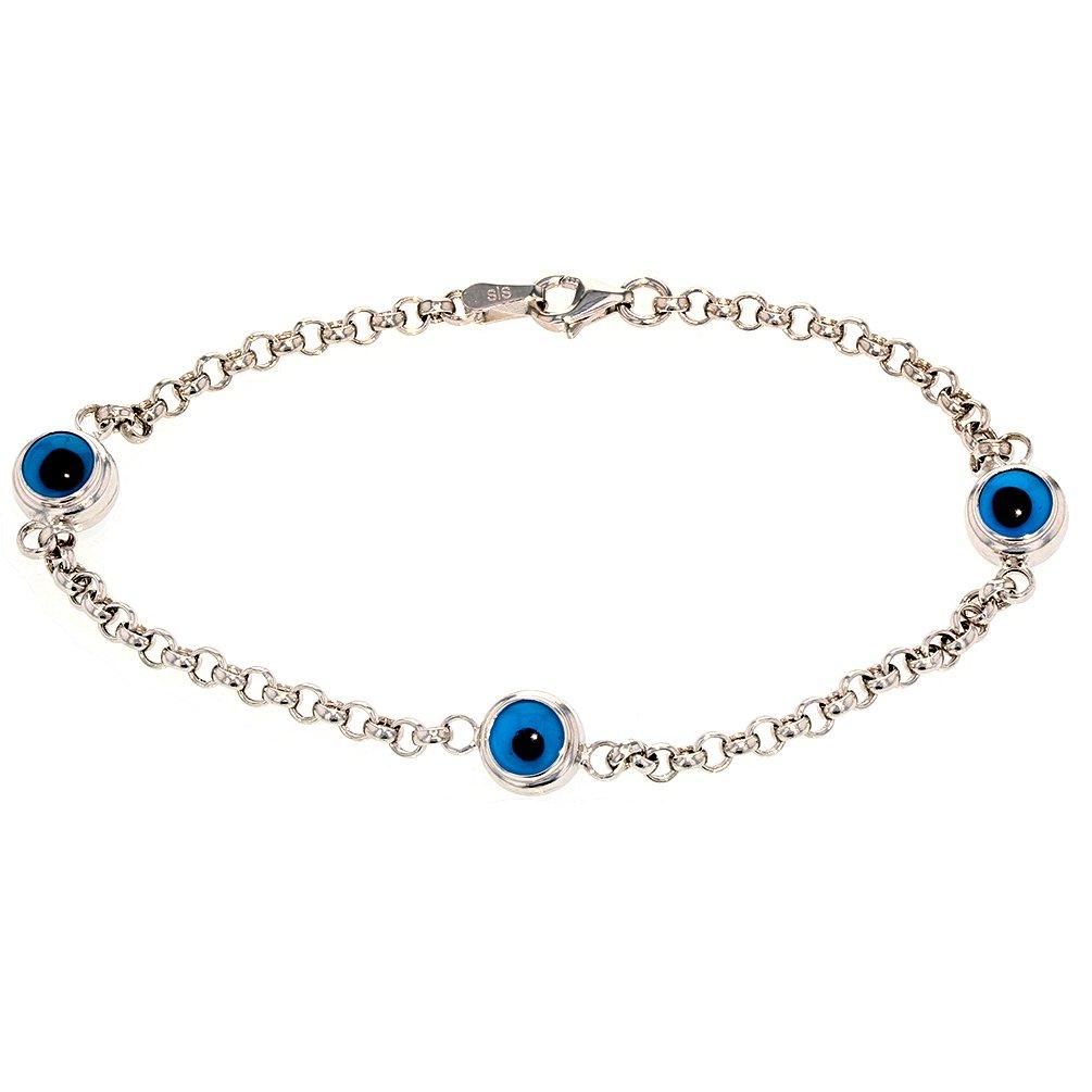 Polished 14k White Gold Blue Evil Eye Link Bracelet 8'' by JewelryAmerica