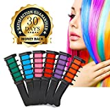 Hair Chalk 6 Piece Temporary Hair Color Edge Chalkers Built in Sealant Upgrade Non-Toxic Rainbow Colored for All Hair Colors