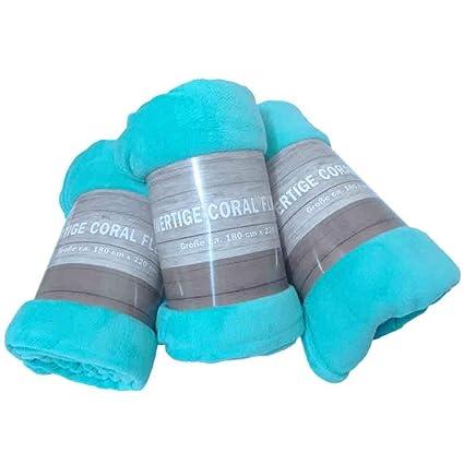 Hochwertige Coral Fleece Decke Kuscheldecke Wohndecke Microfaser Polyester Türkis 180 X 220 Cm