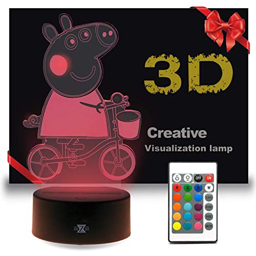 ilizili lamp Peppa Pig on a Bicycle with Remote Control- 3D Night Light Pepa on a Bicycle - Excellent Peppa Pig lamp - Peppa Pig Toy - Peppa Pig Light for Kid - 3D Light Peppa in Our 3D Lamps (Black)