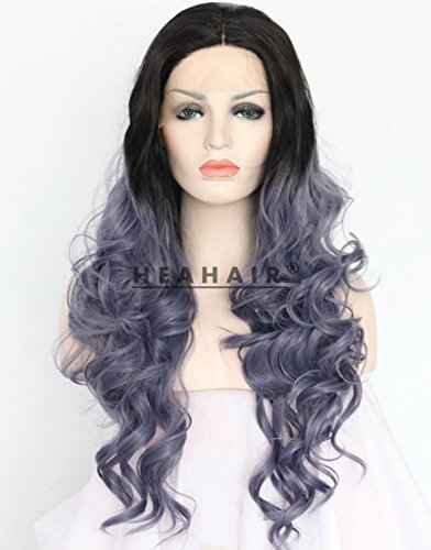 Heahair Dark Root Blue Ombre Wave Synthetic Lace Front Wigs HS3042 (Pictures Of Homemade Halloween Costume Ideas)
