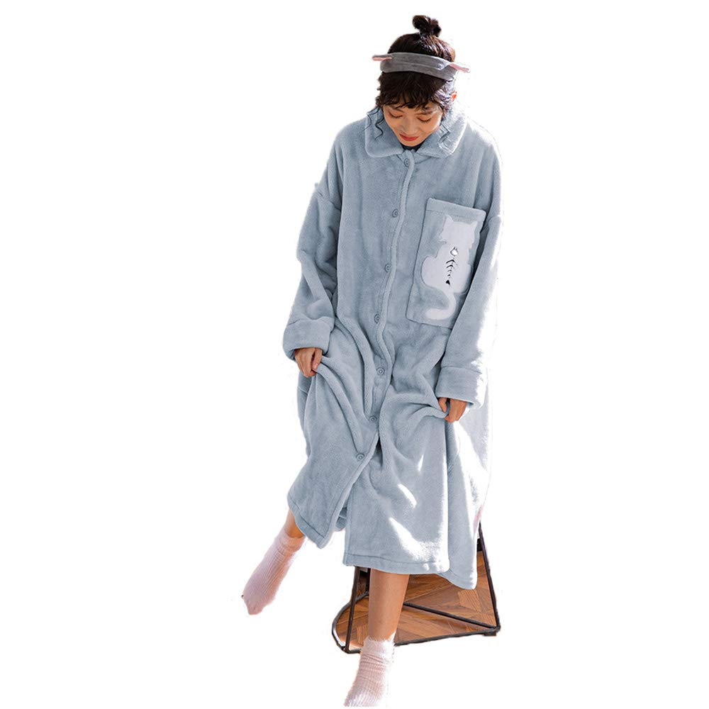 Bata De Casa para Mujer Bata De Baño De Franela Suave Pijamas De Cuerpo Entero con Botones (Color : Azul, Tamaño : Metro): Amazon.es: Hogar