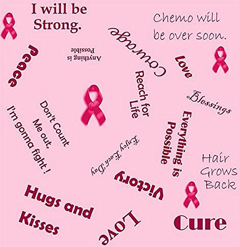 Breast Cancer Fleece Fabric Words of Encouragement 10105-F