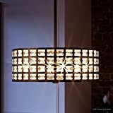 Luxury Crystal Pendant or Chandelier, Medium Size: 8''H x 17.25''W, with Metropolitan Style Elements, Drum Design, Royal Bronze Finish and Suspended Square Crystal Shade, UQL2460 by Urban Ambiance