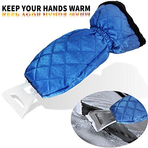 Ice Scraper Mitt Snow Scraper Tool - ZHUBANG Car Truck Blue Ice Icing Scraper Plastic Blade Mini Waterproof Glove kits For Windshield Window Snow