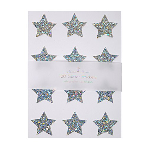 Pack of Silver Star Christmas Stickers (10 sheets)