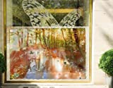 Window Mural Butterfly Wood window sticker window film window tattoo glass sticker window art window décor window decoration Dimensions: 56.7 x 85 inches