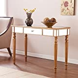 Southern Enterprises Brandilyn Mirrored Media Console Table, Champagne Gold Finish