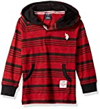 U.S. Polo Assn. Boys' Little Long Sleeve Hooded T-Shirt, Raglan Popover Striped Engine red Injection, 5/6