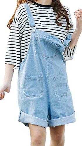 略すロケーション略すZhongJue(ジュージェン) サロペット 短パン レディース デニム ゆったり 韓国ファッション ショートパンツ 夏 ワイドパンツ ショーパン