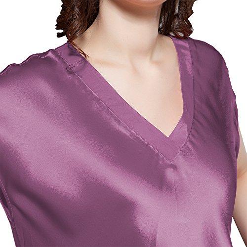 Maulbeerseide Ausschnitt Nachtkleider Lang Seide Damen Momme V 22 Nachthemd Violett LilySilk UIqE1w