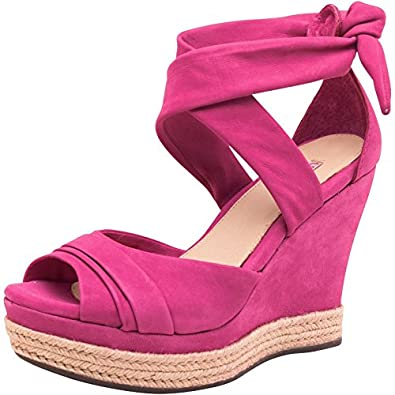 83aeb6e7bb0 Womens UGG Womens Lucy Wedge Sandals Pink - Bright Pink/Natural ...