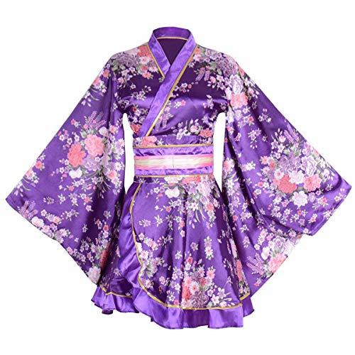 Kimono Bathrobe Costume Japanese Traditional Yukata Cosplay Women's Sexy Sakura Pattern (Purple)]()