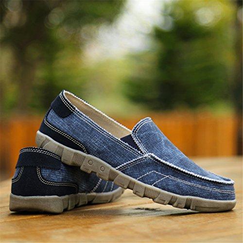 casual uomo casual mocassini espadrillas scarpe scarpe Blue pelle da uomo uomo in traspiranti e da da Scarpe fSnRq0S