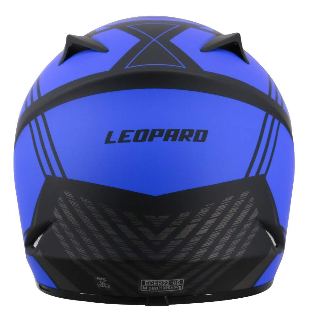 Leopard LEOX307 Casque de Moto Cross Int/égral ECER Homologu/é Homme Femme 57-58cm Noir Mat//Bleu M