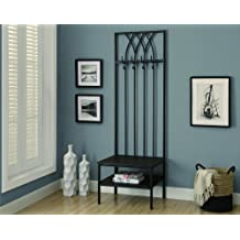 Monarch Specialties Hammered Metal Hall Entry Bench, 72-Inch, Black