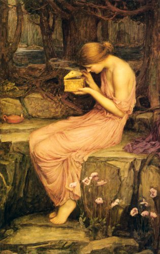 Psyche Opening The Golden Box - CANVAS OR FINE PRINT WALL ART (Psyche Box Golden)