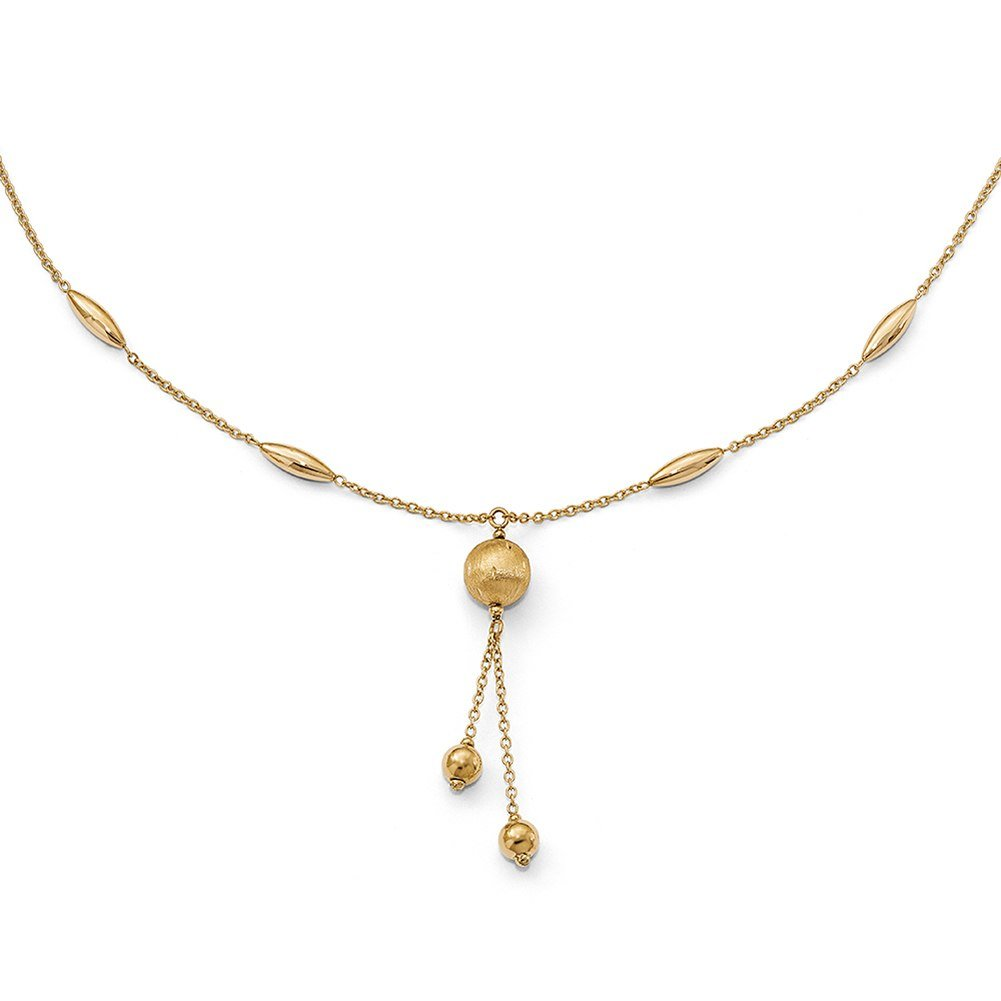 Lex & Lu Leslie's 14k Yellow Gold Beaded Polished and Satin Neckalce 17''-Prime