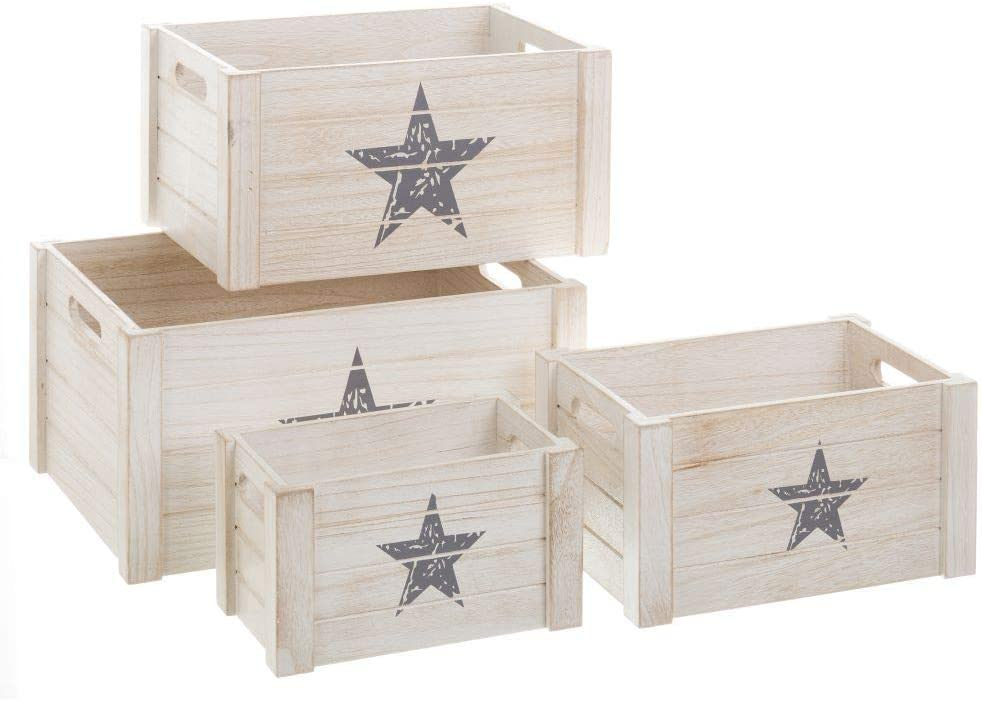 Cajas de Madera Blancas de diseño Industrial para Dormitorio Fantasy - LOLAhome