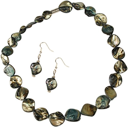 ViciBeads Necklace, Mother of Pearl (Dyed) Smoky Grey Shell Necklace with Magnetic Clasp + Free Earrings Bag