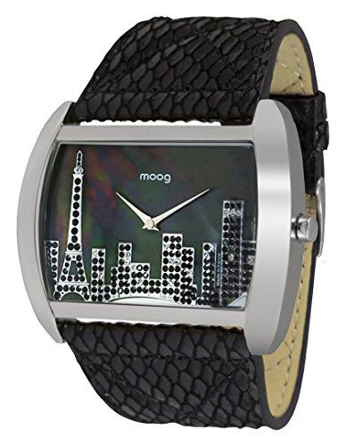 Moog Paris Skyline Women's Watch with Black Dial, Black Genuine Leather Strap & Swarovski Elements - M41882-205