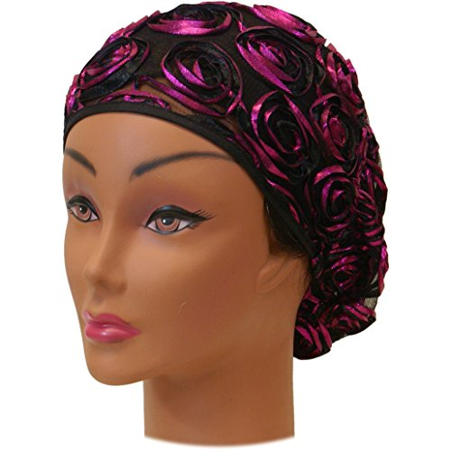 SSK Beautiful Metallic Turban-style Head Wrap (Pink Rosettes)