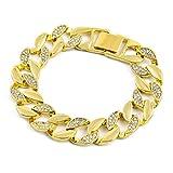 MCSAYS Fashion Hip Hop Rhinestone CZ Crystal Cut Cuban Chain Bling Bling Bracelet Men's Iced out