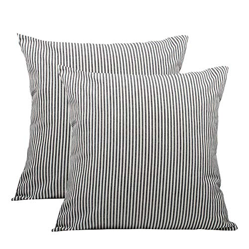 (COMHO Pack of 2, Cotton Woven Striped Throw Pillow Covers Set, Decorative Cushion Covers, Square Farmhouse Pillowcases, for Sofa Bedroom Car Chair 18x18 Inch/45x45 cm (Black))