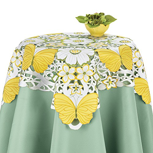 Butterfly Square Dining Table - Yellow Butterfly Floral Embroidered Cutout Table Linens - Perfect for Spring, Summer, Square