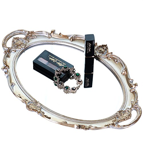 Zosenley Polyresin Ellipse Antique Decorative Mirror Tray, Makeup Organizer, Jewelry Organizer, Serving Tray, 9.8