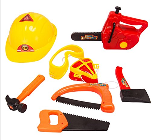 8 pcs/set Play House Power tool Toy Boy Safety helmet Chainsaw etc Mesh packaging Tool Toy
