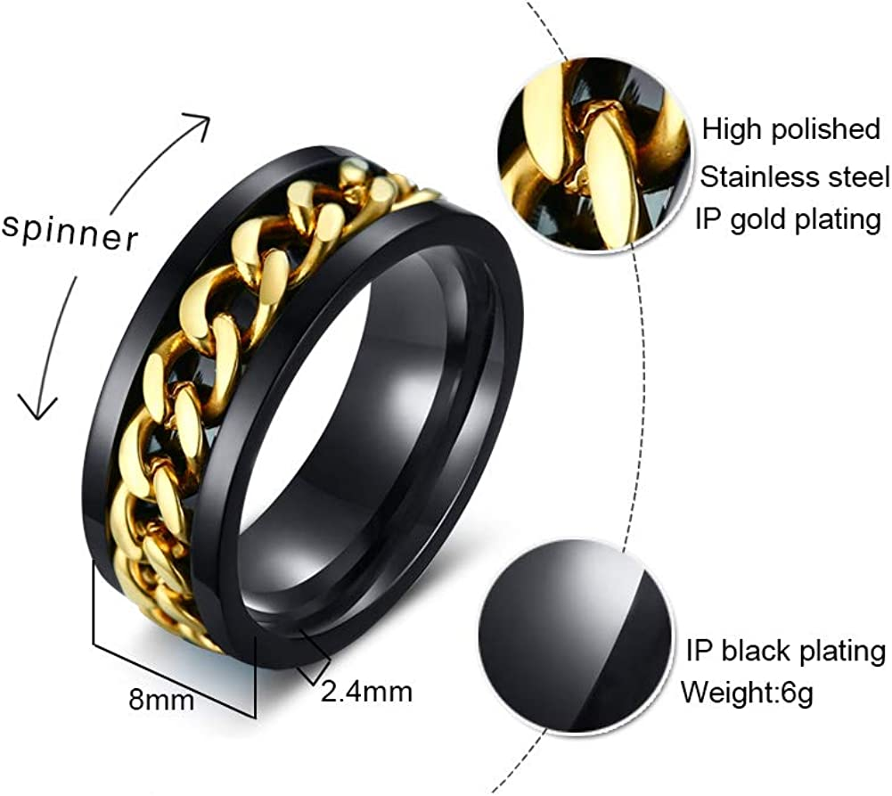 XUANPAI Stainless Steel Groove Curb Chain Inlay Spinner Ring Engagement Wedding Bands for Men Women