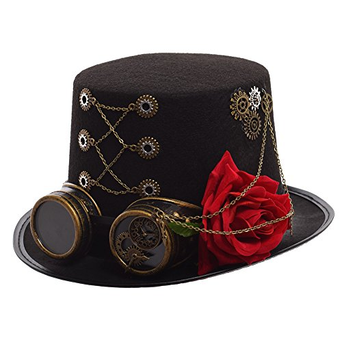 GRACEART Steampunk Top Hats With Goggles With Flower Head -