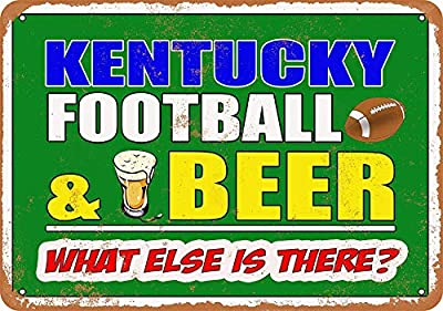 DYTrade Vintage Look Metal Sign 8 x 12 - Kentucky Football and Beer