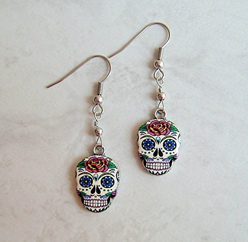 Multi Color Sugar Skull Rose Flower Enamel Charm Stainless Steel Earrings Day Of The Dead Gift Idea (Enamel Mardis Gras Charm)