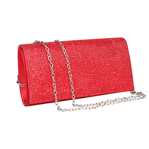 (Womens Rhinestone Clutch Crystal Evening Bags Wedding Party Cocktail Purse Handbag. (Red))