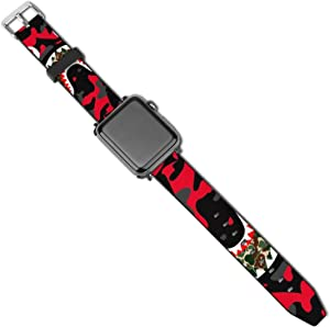 SWEET TANG Mens Women Bapes Shark Teeth Camouflage Camo Art Apple Watch Band 38mm/40mm, 42mm/44mm, Duarable Stretchy iwatch Bands Sport Band, PU Thin Replacement Band with Buckles