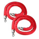 New Star Foodservice 54767 Red Velvet Stanchion Rope with Chrome Plated Hooks , 79.5-Inch, Set of 2
