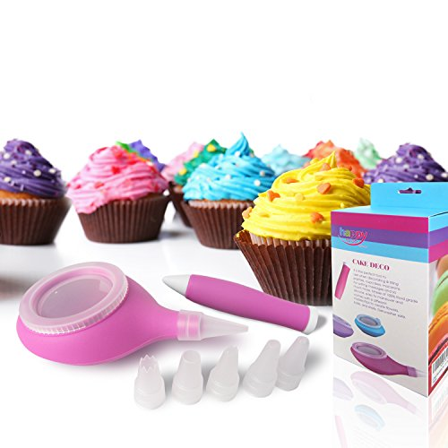 Happy To Go Cake Decorating Kit - Set of 2 Accesories with 6 Icing Tips for Baking Supplies (Cupcake Decorating Halloween Tip)