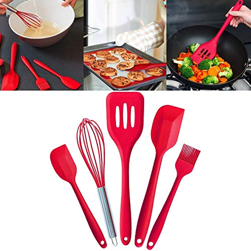 1 piece Behogar 5PCS Silicone Kitchen Baking Utensil Set Scraper Eggbeater Slotted Spatula Brush Tools Cocina Utensilio Cooking Tools