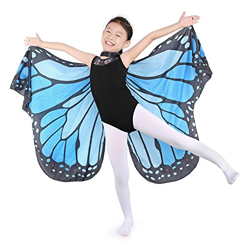 Dance Fairy Monarch Butterfly Wings Cape Dance Costume for Kids/Adult (Blue-Hand Wings)]()