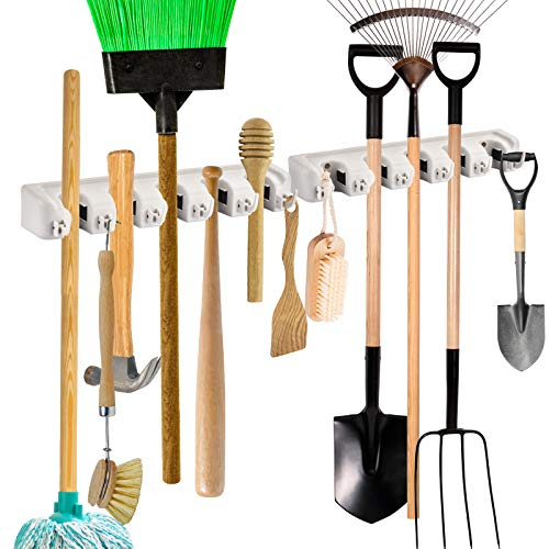ONMIER Mop and Broom Holder, Multipurpose Wall Mounted Organizer Storage Hooks, Ideal Tools Hanger for Kitchen Garden, Garage, Laundry Room