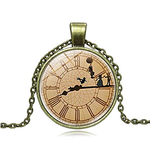 GYXYZB Vintage Clock Glass Pendant Peter Pan Time Gem Necklace Long