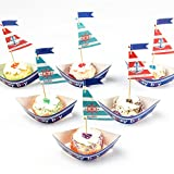Sailboat Cupcake Toppers Cake Wrappers Nautical Birthday Party Decoration 1st Ahoy Boy Birthday Table centerpiece 20 Pcs SUNBEAUTY