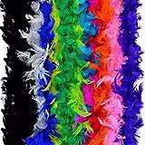 Blackjill 12pcs Assorted Colors Feather Boas, Women Girls Dress up Boa, Mardi Gras Boa Costume Party Accessory