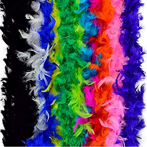 Blackjill 12pcs Assorted Colors Feather Boas, Women Girls Dress up Boa, Mardi Gras Boa Costume Party Accessory -