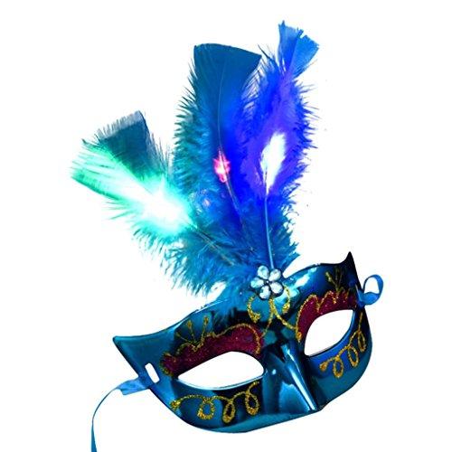 Ikevan Women Venetian LED Mask Masquerade Fancy Dress Party Princess Feather Masks -