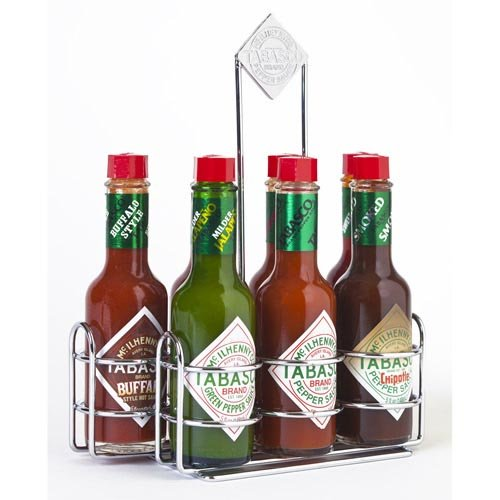 TABASCO Pepper Sauce Crome Caddy with 7 Family of (Tabasco Chipotle)