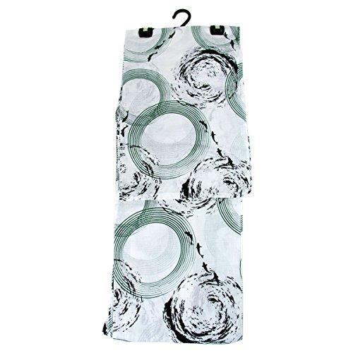 観光ベアリング研究浴衣 レディース -23- 綿麻 変わり織 フリーサイズ 白 緑 鯉 手描き風