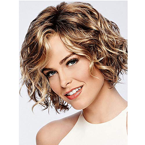 MILISI Short Brown Wigs for White Women Brown Mixed Blonde Bob Hair Wigs Heat Resistant Synthetic Full Wig Fashion Daily Party Women Wigs with Wig Cap (Brown Mixed Blonde) MLS043 -